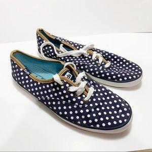 Keds navy blue and white polka dot size 7